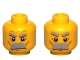 Part No: 3626bpb0579  Name: Minifigure, Head Dual Sided Thick Moustache and Eyebrows, Determined / Angry Pattern - Blocked Open Stud