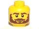 Part No: 3626bpb0777  Name: Minifigure, Head Beard Brown Bushy, Moustache, White Pupils Pattern - Blocked Open Stud