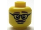 Part No: 3626bpb0790  Name: Minifig, Head Glasses with Dark Brown Thick Eyebrows and Moustache Pattern - Blocked Open Stud