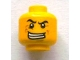 Lot ID: 128968457  Part No: 3626bpb0921  Name: Minifig, Head Male Black Angry Eyebrows, Evil Grin with Teeth, Wrinkles Pattern - Blocked Open Stud