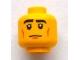 Part No: 3626bpb0926  Name: Minifigure, Head Black Eyebrows, Cheek Lines, White Pupils Pattern - Blocked Open Stud