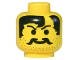 Part No: 3626bpx108  Name: Minifig, Head Moustache, Stubble and Bald Hair Part Pattern - Blocked Open Stud