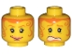 Part No: 3626bpx116  Name: Minifigure, Head Dual Sided Female Orange Hair Tendrils, Scared / Smile Pattern - Blocked Open Stud