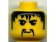 Part No: 3626bpx131  Name: Minifigure, Head Moustache Fu Manchu, Black Hair, Eyebrows Pattern - Blocked Open Stud