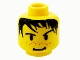 Part No: 3626bpx134  Name: Minifigure, Head Male Spiky Black Hair, Nose Freckles and Smirk Pattern - Blocked Open Stud