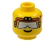 Part No: 3626bpx157  Name: Minifigure, Head Glasses with Silver Sunglasses and Red Headset Pattern - Blocked Open Stud