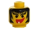 Part No: 3626bpx20  Name: Minifig, Head Female with Hair Framed Face, Eyebrows and 1 Tooth in Mouth Pattern - Blocked Open Stud
