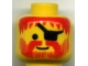 Part No: 3626bpx80  Name: Minifigure, Head Beard Vertical Lines with Messy Hair, Moustache Red, Eyepatch Pattern - Blocked Open Stud