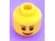 Part No: 3626cpb0205  Name: Minifigure, Head Female with Brown Thin Eyebrows, White Pupils and Short Eyelashes, Wide Smile with Red Lips Pattern - Hollow Stud