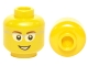 Part No: 3626cpb0331  Name: Minifigure, Head Glasses with Gray Frame Sides, Brown Eyebrows and Open Smile Pattern - Hollow Stud