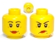Part No: 3626cpb0366  Name: Minifigure, Head Dual Sided Female Red Lips, Crow's Feet and Beauty Mark, Smile / Annoyed Pattern - Hollow Stud