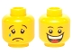 Part No: 3626cpb0368  Name: Minifigure, Head Dual Sided Huge Grin, White Pupils, Eyebrows / Sad with Tear, Convex Eyebrows Pattern - Hollow Stud