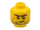 Part No: 3626cpb0495  Name: Minifigure, Head Beard Stubble, Brown Eyebrows, Crooked Smile, White Pupils and Scar Pattern - Hollow Stud