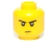 Part No: 3626cpb0524  Name: Minifigure, Head Male Stern Eyebrows (one Scarred), White Pupils, Brown Chin Dimple Pattern - Hollow Stud