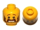 Part No: 3626cpb0582  Name: Minifigure, Head Moustache Handlebar and Sideburns Brown, Scared Pattern - Hollow Stud