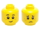 Part No: 3626cpb0595  Name: Minifigure, Head Dual Sided Black Eyebrows, Freckles, Smile / Worried Pattern - Hollow Stud