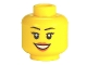 Part No: 3626cpb0633  Name: Minifigure, Head Female with Peach Lips, Open Mouth Smile, Black Eyebrows Pattern - Hollow Stud