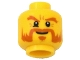 Part No: 3626cpb0652  Name: Minifig, Head Beard Dark Orange, Bushy Eyebrows, Goatee, White Pupils Pattern - Stud Recessed