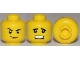 Part No: 3626cpb0654  Name: Minifigure, Head Dual Sided Thin Smirk, Raised Eyebrow / Scared with Teeth Pattern - Hollow Stud