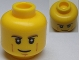 Part No: 3626cpb0810  Name: Minifigure, Head Black and Dark Tan Eyebrows, White Pupils, Cheek Lines, Smirk Pattern - Hollow Stud