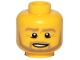 Part No: 3626cpb0849  Name: Minifigure, Head Beard Dark Tan Angular, Pupils, Bottom Eye Lid Line, Teeth Pattern - Hollow Stud