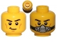 Part No: 3626cpb0879  Name: Minifigure, Head Dual Sided Black Eyebrows, Cheek Lines, Smile / Breathing Apparatus Pattern - Hollow Stud