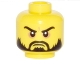 Part No: 3626cpb0978  Name: Minifigure, Head Beard Black, Moustache, Arched Eyebrows, White Pupils, Grim Mouth Pattern - Hollow Stud