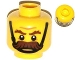 Part No: 3626cpb0999  Name: Minifigure, Head Moustache Brown Bushy, Brown Eyebrows, Chin Strap, Angry Pattern - Hollow Stud