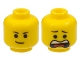 Part No: 3626cpb1028  Name: Minifigure, Head Dual Sided Black Eyebrows, Lopsided Smile / Open Mouth Scared Pattern (Emmet) - Hollow Stud
