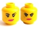 Part No: 3626cpb1029  Name: Minifigure, Head Dual Sided Female Black Eyebrows, Freckles, Eyelashes, Pink Lips, Lopsided Smile / Determined Pattern (Wyldstyle) - Hollow Stud