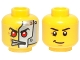 Part No: 3626cpb1036  Name: Minifig, Head Dual Sided Alien with Red Eyes, Silver Head Plates / Black Eyebrows and Crooked Smile Pattern - Stud Recessed