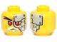 Part No: 3626cpb1041  Name: Minifigure, Head Alien with Red Eyes, Head Plates Pattern (Evil Wu) - Hollow Stud