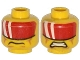 Part No: 3626cpb1149  Name: Minifigure, Head Dual Sided Red Visor with 2 White Bands, Cheek Lines, Mouth Closed / Clenched Teeth Pattern - Hollow Stud