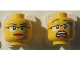 Part No: 3626cpb1181  Name: Minifigure, Head Dual Sided Female Glasses with Black Frames, Red Lips, Determined / Scared Pattern - Hollow Stud