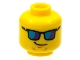 Part No: 3626cpb1182  Name: Minifig, Head Glasses with Blue Sunglasses and Crooked Smile Pattern - Stud Recessed