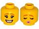 Part No: 3626cpb1189  Name: Minifigure, Head Dual Sided Female Dark Orange Eyebrows, Eyelashes, Bright Pink Lips, Smile / Eyes Closed, Kissing Pattern - Hollow Stud