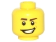 Part No: 3626cpb1214  Name: Minifigure, Head Dark Brown Eyebrows, Crooked Smile and Laugh Lines Pattern - Hollow Stud