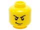 Part No: 3626cpb1216  Name: Minifigure, Head Male Stern Black Eyebrows, White Pupils, Grin Pattern (Lloyd) - Hollow Stud
