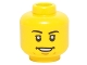 Part No: 3626cpb1221  Name: Minifigure, Head Black Eyebrows, White Pupils, Open Smile, Chin Dimple Pattern - Hollow Stud
