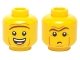 Part No: 3626cpb1244  Name: Minifigure, Head Dual Sided Brown Unibrow, Cheek Lines, Open Mouth Smile / Small Frown Pattern (President Business) - Hollow Stud