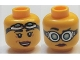 Part No: 3626cpb1283  Name: Minifig, Head Dual Sided Female Red Lips, Goggles, Closed Mouth / Open Mouth Smile Pattern (Christina Hydron) - Stud Recessed