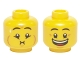 Part No: 3626cpb1314  Name: Minifigure, Head Dual Sided Eyebrows, Crow's Feet, Open Mouth Smile / Queasy Expression with Sweat Drop Pattern - Hollow Stud