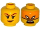 Lot ID: 111762074  Part No: 3626cpb1326  Name: Minifigure, Head Dual Sided Female Dark Red Eyebrows, Dark Tan Lips, Smile / Bright Light Orange Mask, White Eyes, Open Mouth Pattern - Hollow Stud