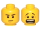 Part No: 3626cpb1337  Name: Minifigure, Head Dual Sided Black Eyebrows, White Pupils, Brown Chin Dimple, Mouth Open Scared / Mouth Closed Stern Pattern - Hollow Stud