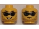 Part No: 3626cpb1348  Name: Minifig, Head Dual Sided Black Digital Sunglasses, Stubble, Crooked Open Mouth Smile / Determined, Closed Mouth Pattern - Stud Recessed