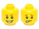 Part No: 3626cpb1349  Name: Minifigure, Head Dual Sided Brown Eyebrows, White Pupils, Freckles and Smiling / Scared Pattern - Hollow Stud