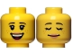 Part No: 3626cpb1352  Name: Minifigure, Head Dual Sided Female Black Eyebrows, Freckles, Eyelashes, Peach Lips, Open Smile with Teeth / Sleeping Pattern - Hollow Stud
