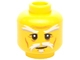 Part No: 3626cpb1397  Name: Minifigure, Head White Moustache, Goatee and Eyebrows, Brown Forehead and Cheek Lines, Slight Smile Pattern - Hollow Stud