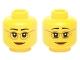 Part No: 3626cpb1398  Name: Minifigure, Head Dual Sided Female Dark Tan Glasses, Laugh Lines, Dark Orange Lips, Neutral / Raised Eyebrows Amused Pattern - Hollow Stud