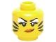 Part No: 3626cpb1410  Name: Minifigure, Head Female White Eye Shadow, Orange Lips and Black Tiger Stripes Pattern - Hollow Stud